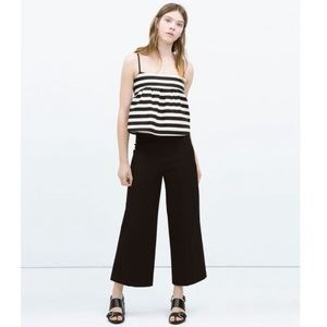 Zara Woman High Rise Wide Leg Crop Pants